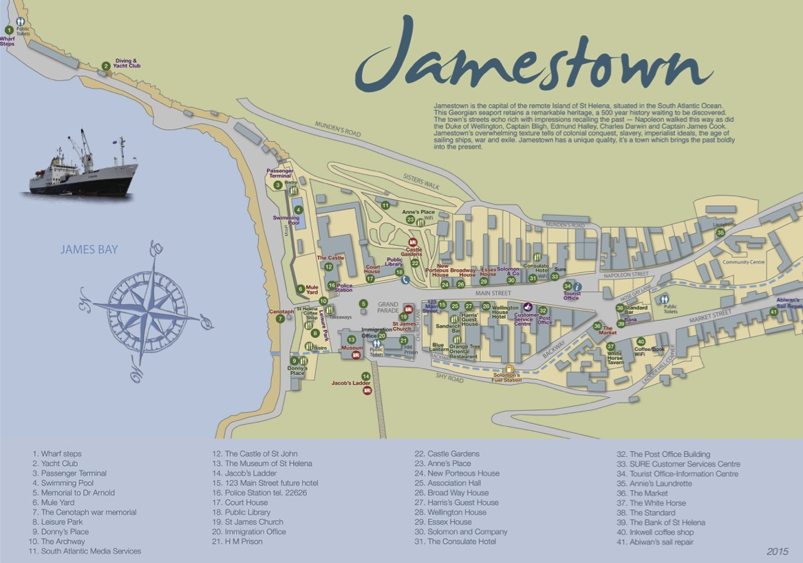 Tourist Map - Jamestown, St Helena Island