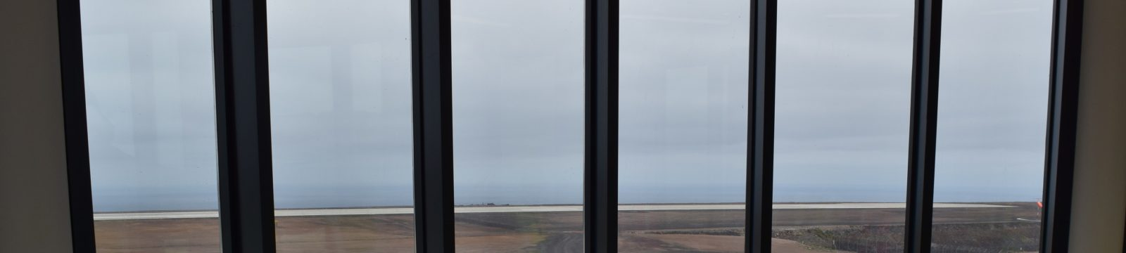 Photo of the view across the runway from the pilot's briefing room