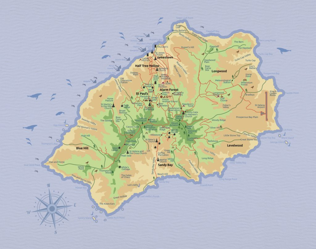 St Helena Tourist map 2017