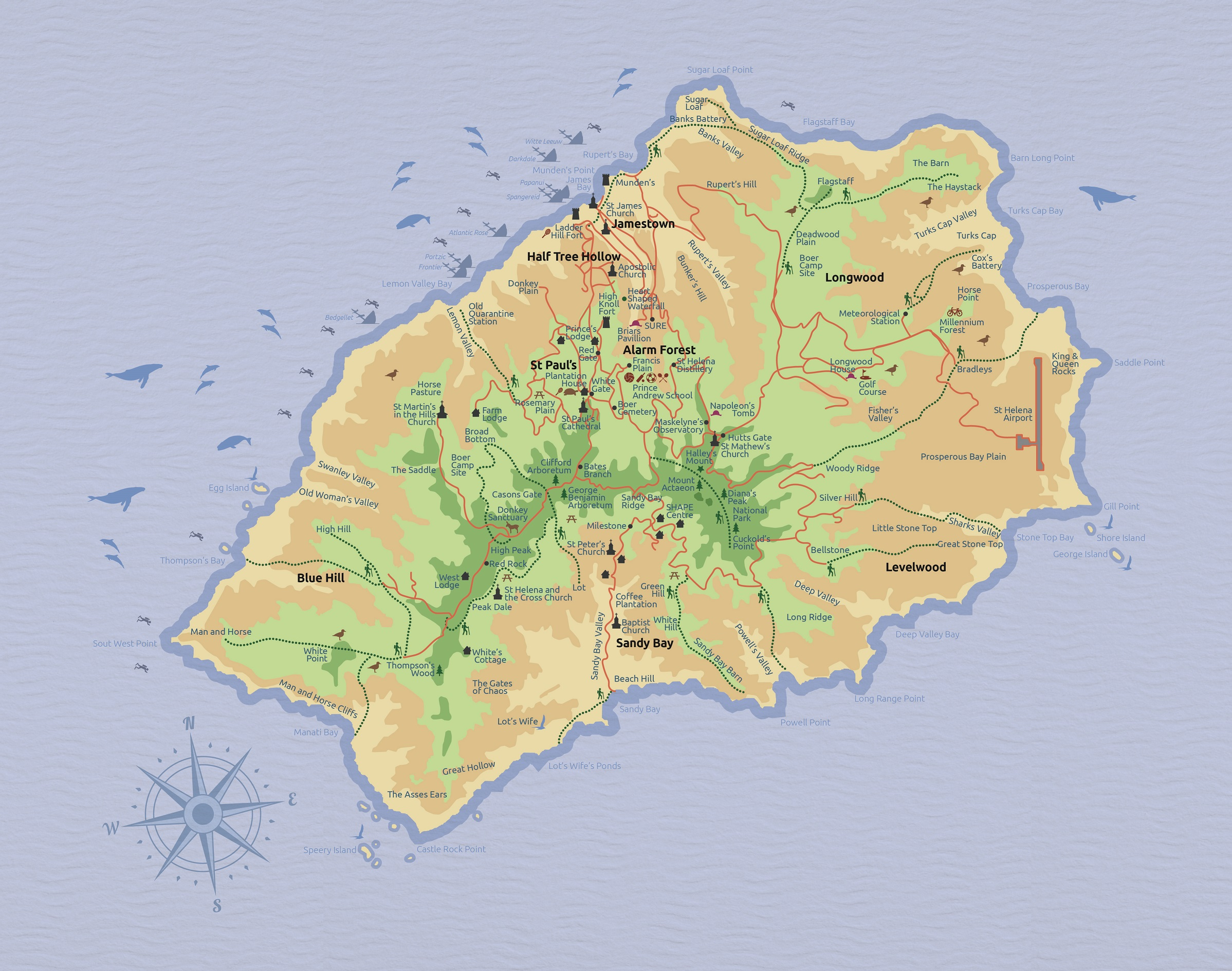 St Helena Tourist Map