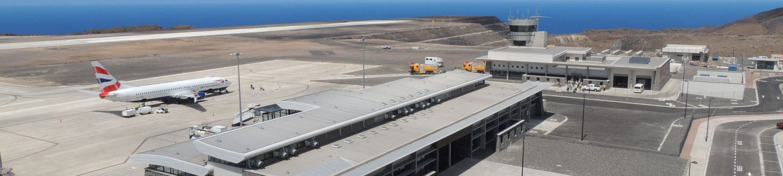 View of the first large passenger aircraft at St Helena Airport parked on the apron