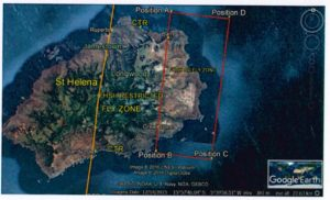 St Helena Island Map showing No Fly Zone, Restricted Fly Zone and Safe Zone
