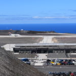 Photograph of the SA Airlink charter aircraft landing on Runway 20 at St Helena Airport