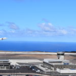 Photograph of the SA Airlink charter aircraft departing on Runway 20 at St Helena Airport