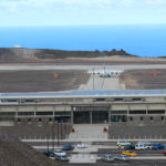 Photograph of the SA Airlink charter aircraft taxi for Runway 20 at St Helena Airport