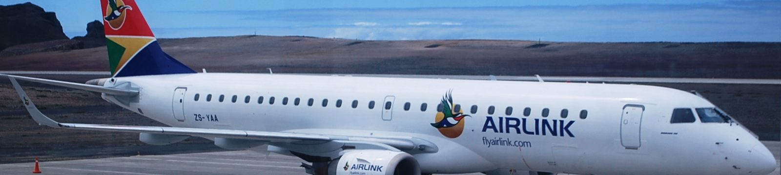 Airlink's Embraer E190-100IGW aircraft at St Helena Airport