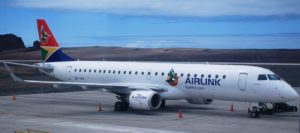 Airlink Embraer E190-100IGW aircraft at St Helena Airport
