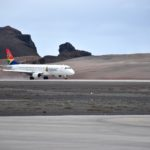 Arrival of first scheduled commercial flight on Runway 20 at St Helena Airport