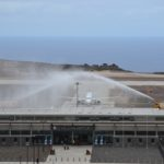 First scheduled commercial flight - water arch to welcome the aircraft
