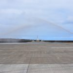 First scheduled commercial flight - water arch