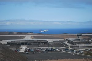 Departure of first scheduled commercial flight to St Helena Airport