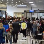 First scheduled commercial flight - meeters and greeters in the Terminal Building
