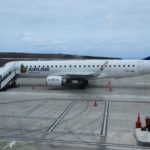 First scheduled commercial flight - parked on the apron at St Helena Airport