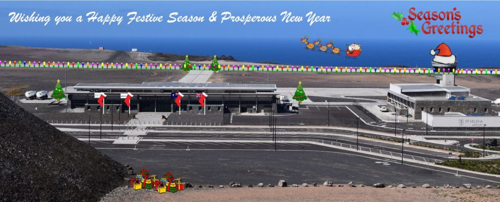 Photo of St Helena Airport from Creeper Hill embelished with seasonal images and a greeting from the airport
