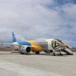 An Embraer E190-E2 aircraft on the apron at St Helena Airport