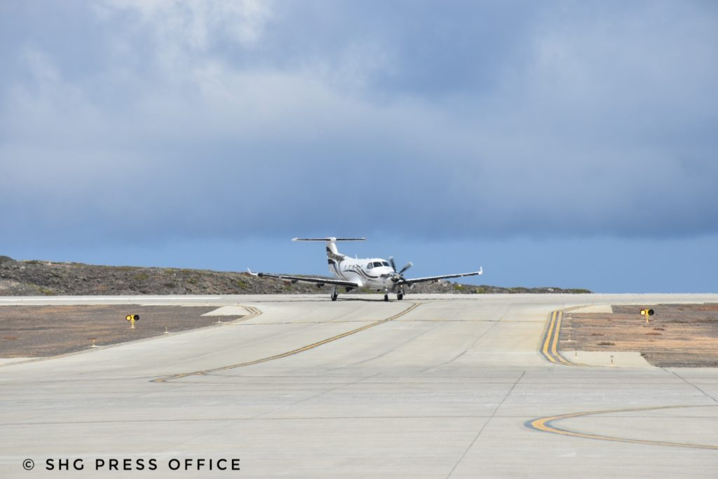 Pilatus PC12 landing at St Helena as a stop on its circumnavigation of the world