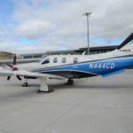 A Daher TBM 930 aircraft parked on the apron at St Helena Airport