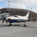 A Daher TBM 850 aircraft parked on the apron at St Helena Airport