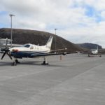 Two Daher TBMs parked on the apron at St Helena Airport