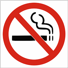 No smoking logo - cigarette with a red oblique line crossing it