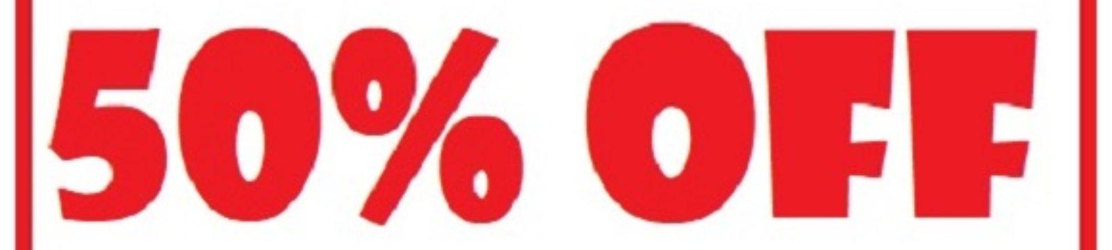 Logo depicting 50 percent off flight prices