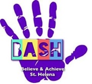Logo for Believe and Achieve St Helena - a new charity on St Helena. Purple handprint with BASH lettering and wording