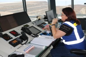 Air Traffic controller in the Tower at St Helena Airport