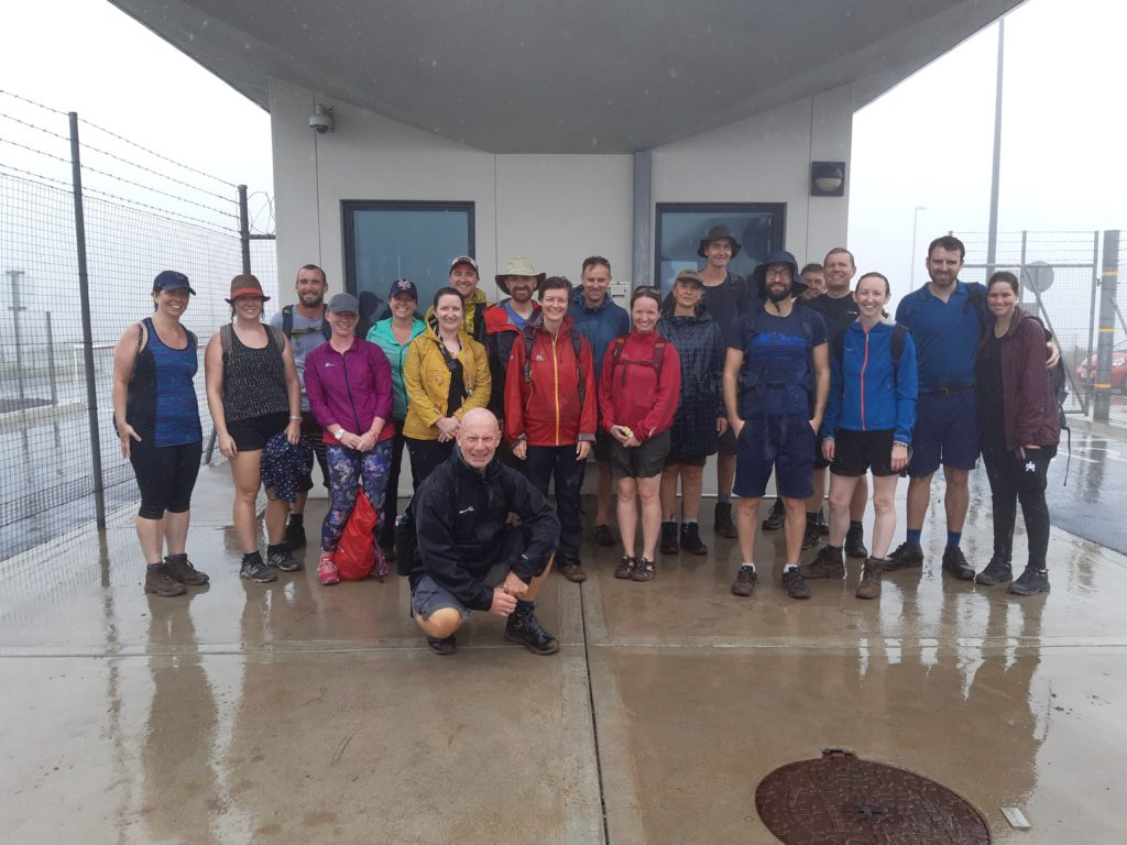 A photo of walkers taken outside the vehicle control point at St Helena Airport