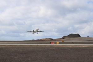 Titan Airways Airbus A318 departing St Helena Airport on Runway 20