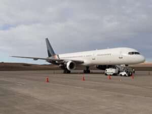 A Titan Airways Boeing 757-200 parked on the apron at St Helena Airport