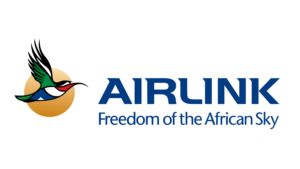 Airlink logo - Airlink wording with a sunbird against a golden circle background