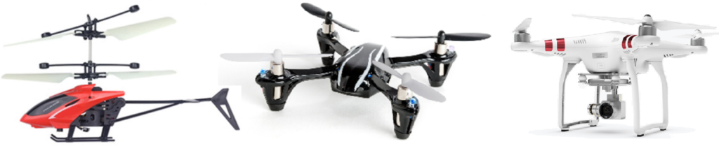 A picture of three different types of drones, ranging from a toy to a professional drone