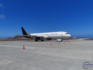 Photo of Titan Airways Boeing 757 on the apron at St Helena Airport
