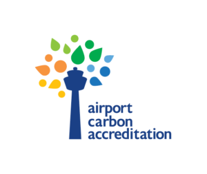 Official Airport Carbon Accreditation logo - a control tower in blue with various coloured leaves to imitate a tree