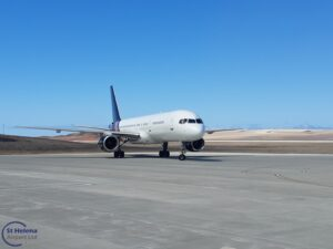Photo of Titan Airways G-ZAPX Boeing 757 arriving on the apron at St Helena Airport on 26 February 2021