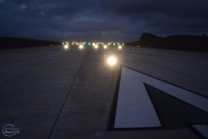 Photo of the runway lights switched on at St Helena Airport in July 2015