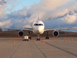 Titan Airways Boeing 757 on the apron at St Helena Airport